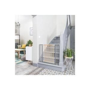 Badabulle Safe & Protect Gate Wood + Metal-Grey